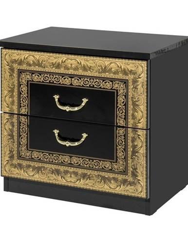 Nočný stolík WILLOW čierna/zlatá