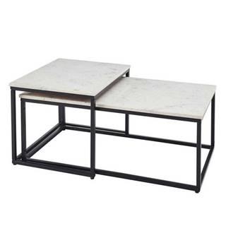 Konferenčný stolík KENO čierna/mramor, 2ks