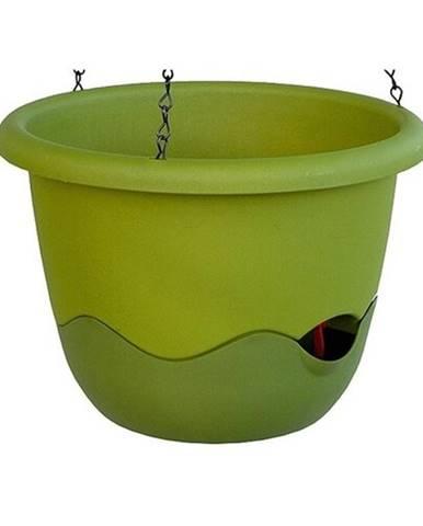 Samozavlažovací závesný kvetináč Mareta, zelená, 25 cm, Plastia, pr. 25 cm