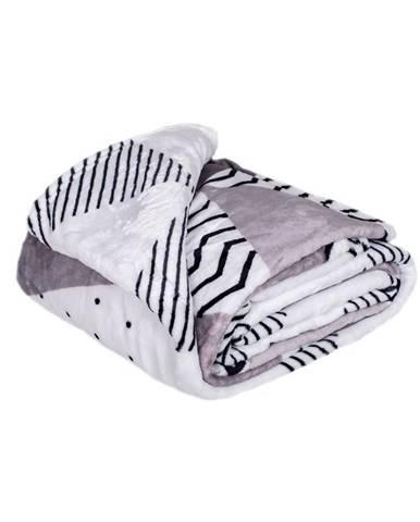 Jahu Deka XXL / Prehoz na posteľ Triangle grey, 200 x 220 cm
