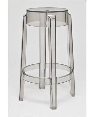 ArtD Barová stolička Duch 75 cm inšpirovaná Ghost sivá transparentná