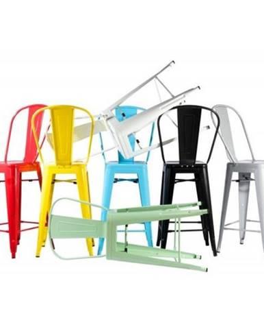ArtD Barová stolička Paris Back inšpirovaná Tolix biela