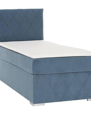 Boxspringová posteľ jednolôžko modrá 90x200 ľavá PAXTON