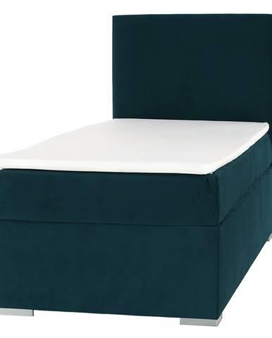 Boxspringová posteľ jednolôžko zelená 90x200 pravá SAFRA