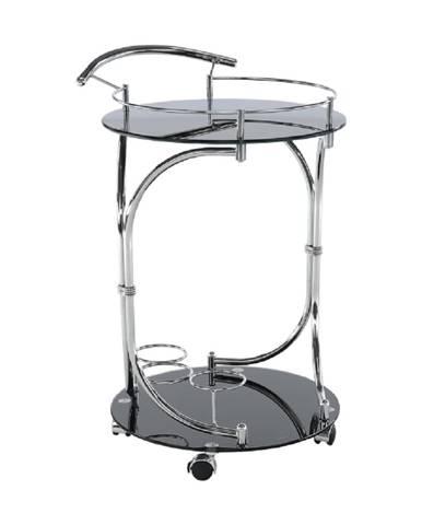 Servírovací stolík čierne sklo/chróm VESNA rozbalený tovar