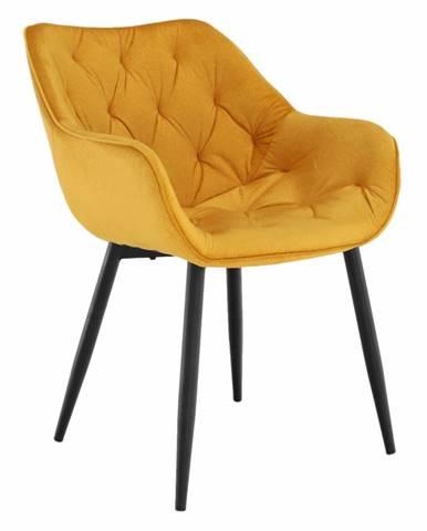 Dizajnové kreslo žltá Velvet látka FEDRIS