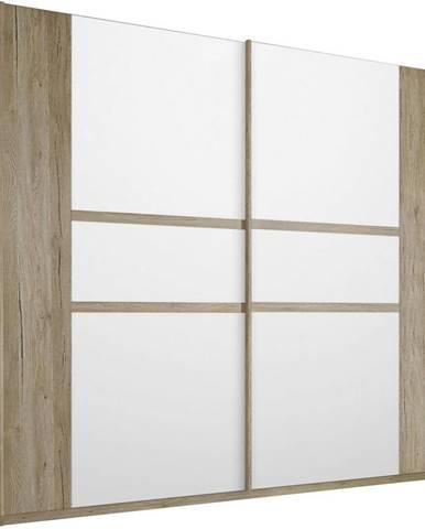 SKRIŇA S POSUVNÝMI DVERMI, biela, farby dubu, 226/210/62 cm - biela, farby dubu