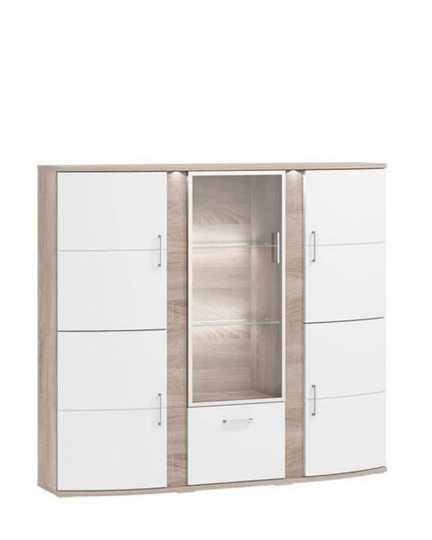 Xora Xora KOMODA HIGHBOARD, biela, farby dubu, 163,7/146,8/40,4 cm - biela, farby dubu