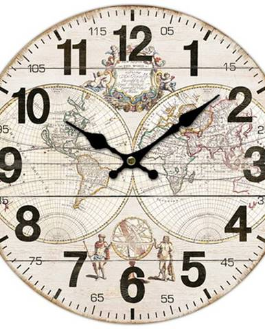 Drevené nástenné hodiny Old map, pr. 34 cm