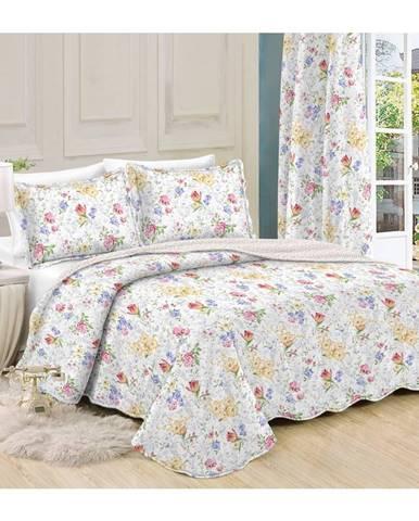 Prehoz na posteľ Kvetiny, 230 x 250 cm, 2 ks 50 x 70 cm, 230 x 250 cm