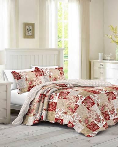 Prehoz na posteľ Patchwork ruže Heda, 230 x 250 cm, 2 ks 50 x 70 cm, 230 x 250 cm