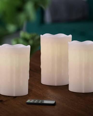Sada voskových LED sviečok s diaľkovým ovládačom, 8 x 12,5 cm, 3 ks