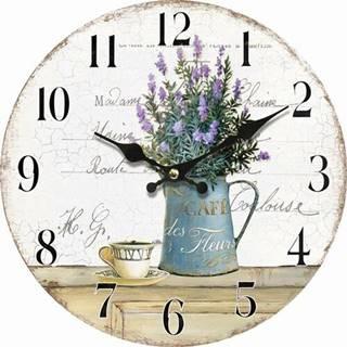 Drevené nástenné hodiny Lavender café, pr. 34 cm