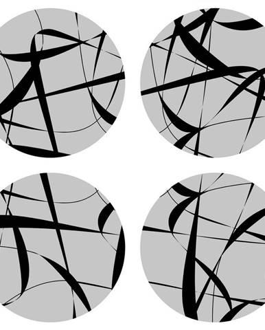 AG Art Podložka pod hrnček Print grey, okrúhla, pr. 10 cm, sada 4 ks