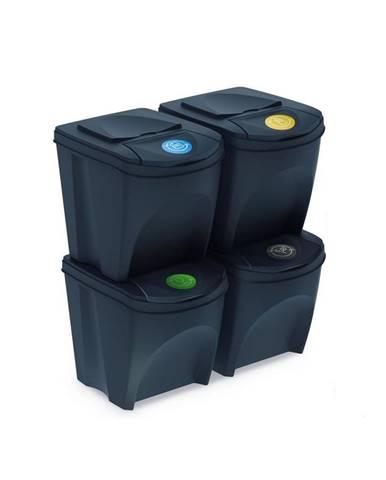 Kôš na triedený odpad Sortibox 25 l, 4 ks, antracit IKWB20S4 S433