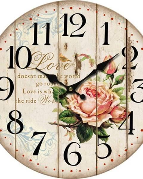 Orion Drevené nástenné hodiny Flower of love, pr. 34 cm
