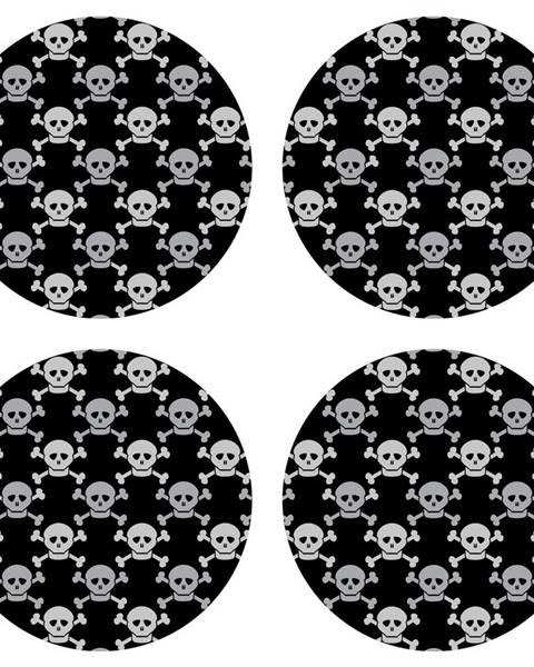 Orion AG Art Podložka pod hrnček Skulls black, okrúhla, pr. 10 cm, sada 4 ks