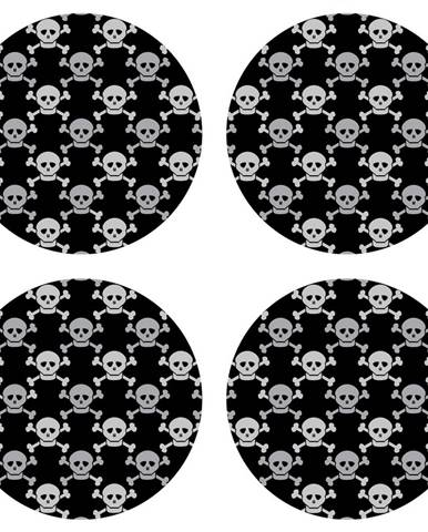 AG Art Podložka pod hrnček Skulls black, okrúhla, pr. 10 cm, sada 4 ks