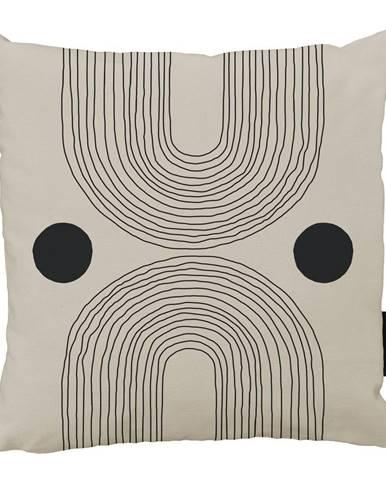 Béžovo-čierny bavlnený dekoratívny vankúš Butter Kings Setting Sun, 50 x 50 cm