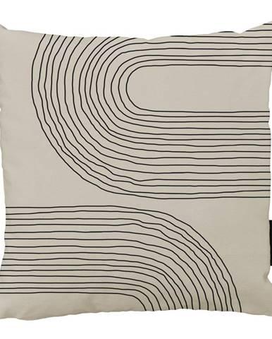 Béžovo-čierny bavlnený dekoratívny vankúš Butter Kings Setting Sunny, 50 x 50 cm