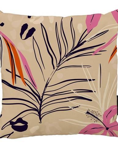 Béžovo-ružový bavlnený dekoratívny vankúš Butter Kings Jungle in Spring, 50 x 50 cm
