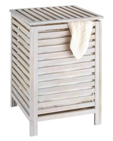 Biely kôš na bielizeň z orechového dreva Wenko Laundry Bin Norway, 65 l