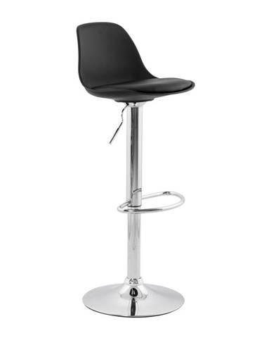 Čierna barová stolička so sedadlom z pravej kože Kokoon Suki