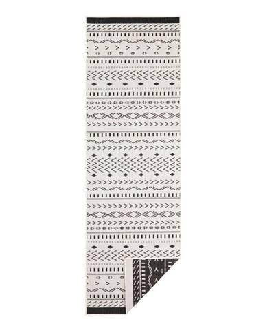 Čierno-krémový vonkajší koberec Bougari Kuba, 80 x 250 cm