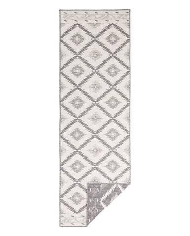 Sivo-krémový vonkajší koberec Bougari Malibu, 80 x 250 cm