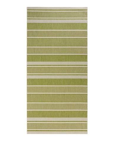 Zelený vonkajší koberec Bougari Strap, 80 x 200 cm