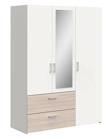 Skriňa 3-dverová READY dub/perleťovo biela