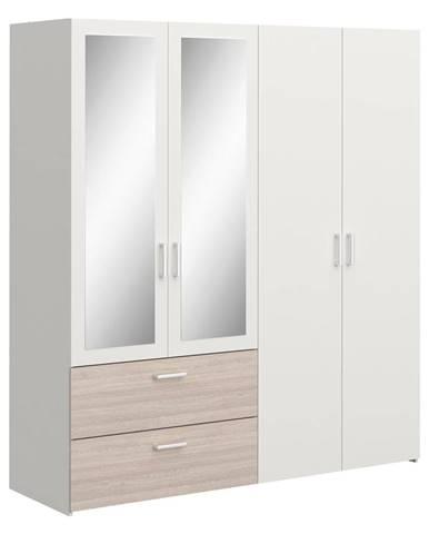 Skriňa 4-dverová READY dub/perleťovo biela