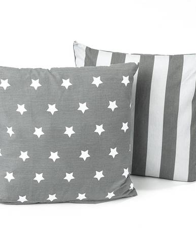 4Home Obliečka na vankúšik Stars sivá, 40 x 40 cm