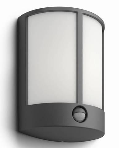 Philips 16465/93/16 Stock Vonkajšie nástenné LED svietidlo s čidlom 24,5 cm, antracit