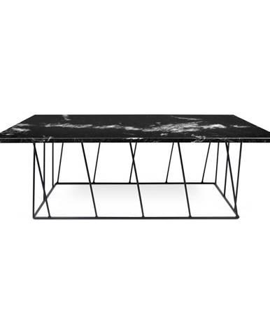 Čierny mramorový konferenčný stolík s čiernymi nohami TemaHome Heli×, 120cm