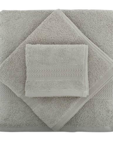 Set 2 sivých bavlnených uterákov a osušky zo 100% bavlny Rainbow Gris