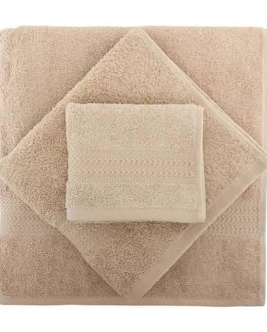 Set 3 béžových bavlnených uterákov a osušky Rainbow