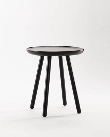 Čierny odkladací stolík z masívu EMKO Naïve, ø45cm