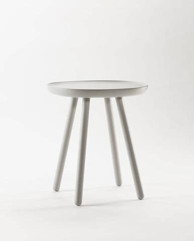 Sivý odkladací stolík z masívu EMKO Naïve, ø45cm