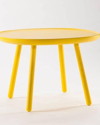 Žltý stolík z masívu EMKO Naïve, ø64cm