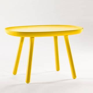 Žltý odkladací stolík z masívu EMKO Naïve, 61 x 41 cm