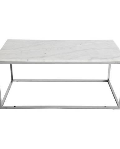 Konferenčný stolík s bielou mramorovou doskou a podnožou v striebornej farbe RGE Accent