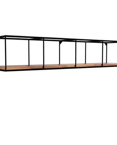 Nástenná polica s doskou z tmavého orechového dreva Miray, dĺžka 120 cm