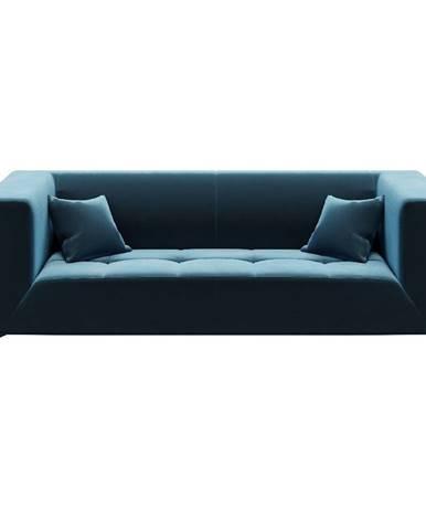 Modrá zamatová pohovka MESONICA Toro, 217 cm