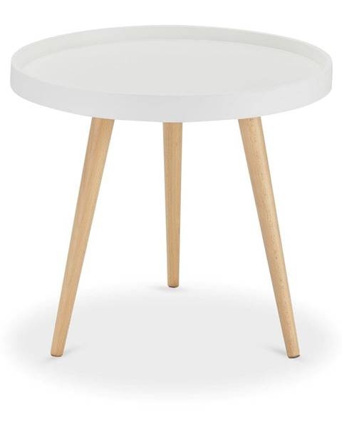 Furnhouse Biely konferenčný stolík s nohami z bukového dreva FurnhoOpus, Ø 50 cm