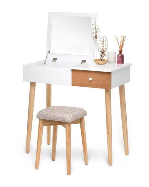 Chez Ro Biely toaletný stolík so zrkadlom, šperkovnicou a zásuvkou Chez Ro Beauty