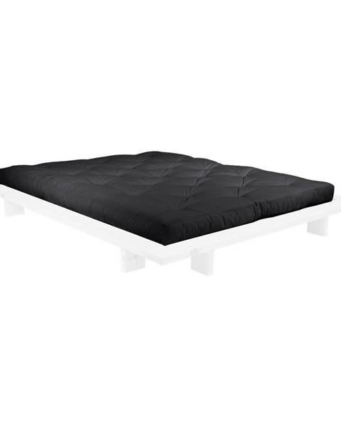 Karup Design Dvojlôžková posteľ z borovicového dreva s matracom Karup Design Japan Comfort Mat White/Black, 160 × 200 cm