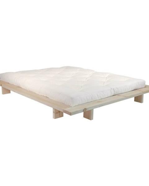Karup Design Dvojlôžková posteľ z borovicového dreva s matracom Karup Design Japan Double Latex Raw/Natural, 160 × 200 cm