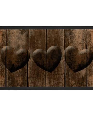 Hnedá rohožka Hansa Home Hearts, 45 × 75 cm