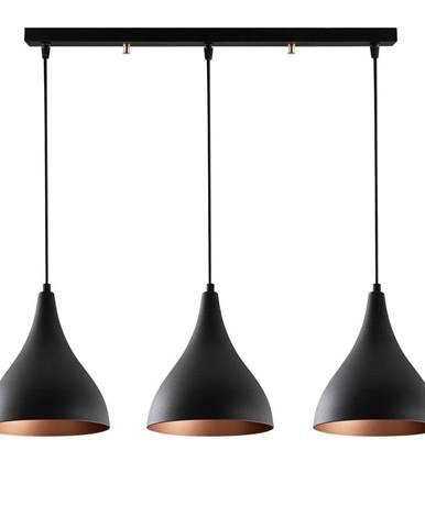 Čierne stropné svietidlo pre 3 žiarovky Opviq lights Berceste Long
